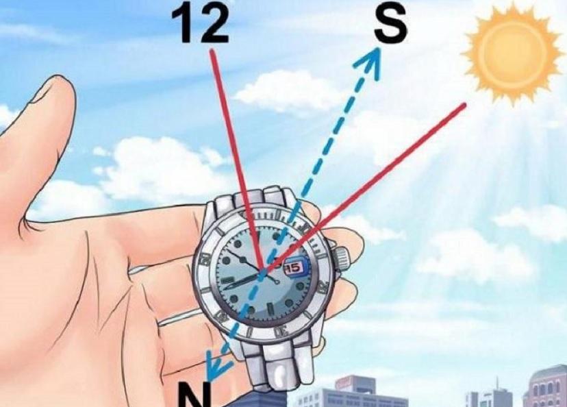 Ориентирование по солнцу и часам